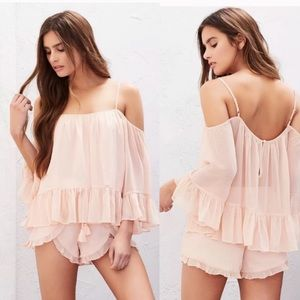 LOVERS + FRIENDS Cold Shoulder Ruffle Swing Top